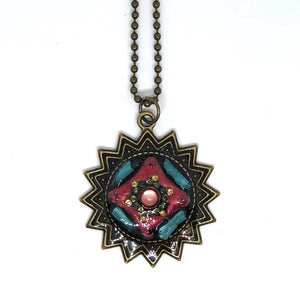 Pink Antique Gold Sun Pendant