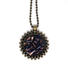 Midnight Blue and Copper Streaked Mosaic Pendant
