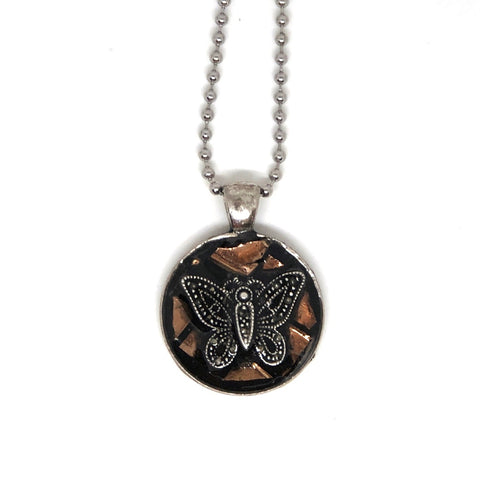 Copper Glass Butterfly Mosaic Pendant