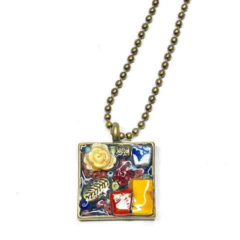 mosaic pendant necklace china vintage upcycled