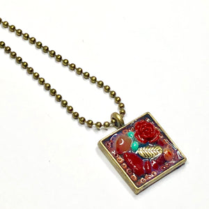 Red Rose Assemblage Pendant