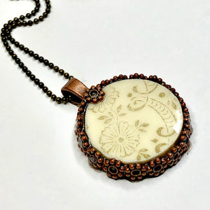 Bronze Flower and China Pendant