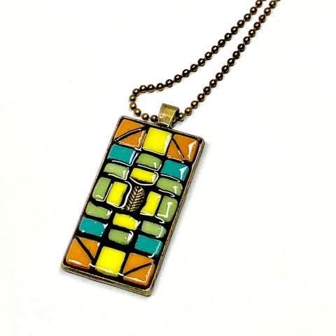mosaic pendant necklace jewelry vintage upcycled recycled
