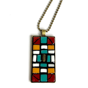 mosaic pendant jewelry necklace vintage recycled upcycled