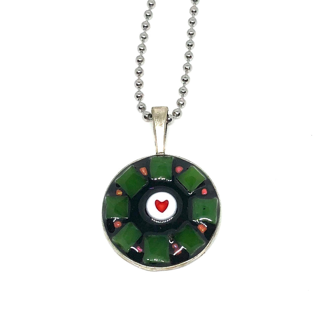 Green Glass with Heart Round Pendant