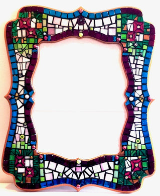 Red Flowers Stained Glass Picture Frame