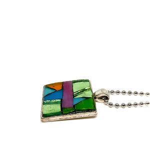 Pink and Green Stained Glass Square Pendant