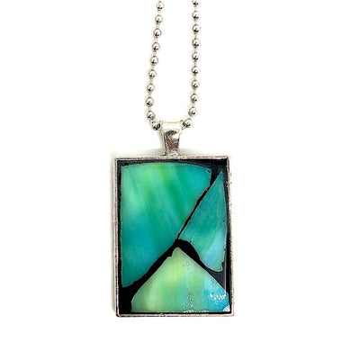 Marbled Green Stained Glass Rectangle Pendant
