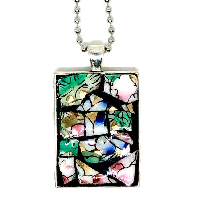 Flower and Leaf China Rectangle Pendant