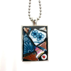 Blue Daisies & Heart Rectangle Pendant