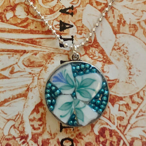 Beaded Blue China Flower Pendant