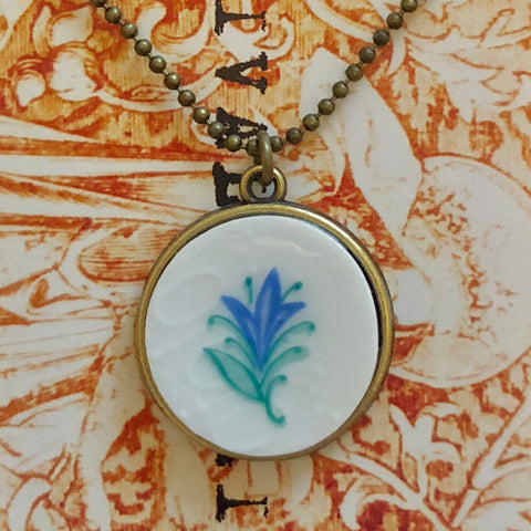 Baby Blue China Flower Pendant