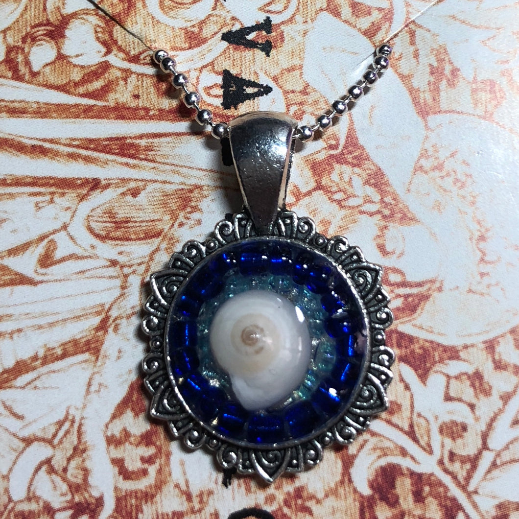 Blue Beaded Shell Pendant