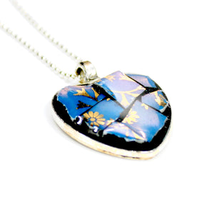 Blue & Gold China Heart Pendant