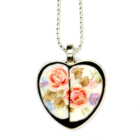 China Rose Split Heart Pendant
