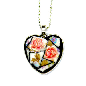 Two Roses China Heart Pendant