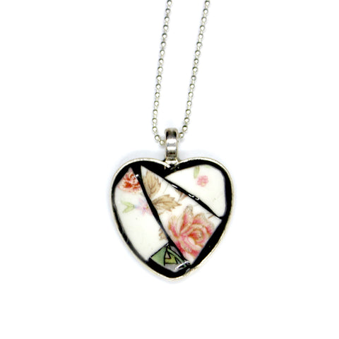 Rose China Heart Pendant