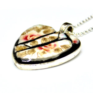 Rose & Leaf Heart Pendant