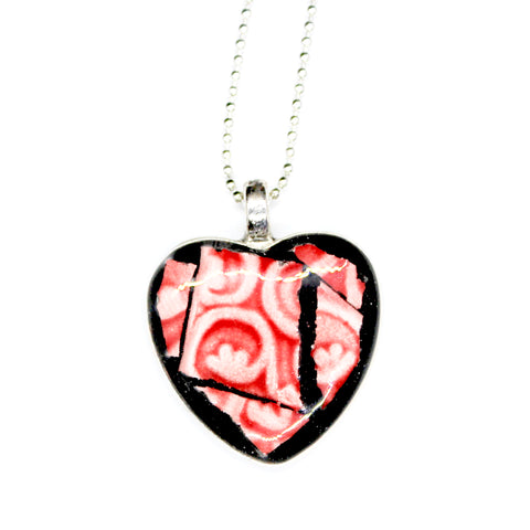 Deep Pink Ceramic Heart Pendant