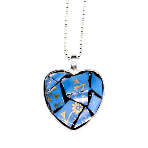 Blue & Gold Flower Heart Pendant