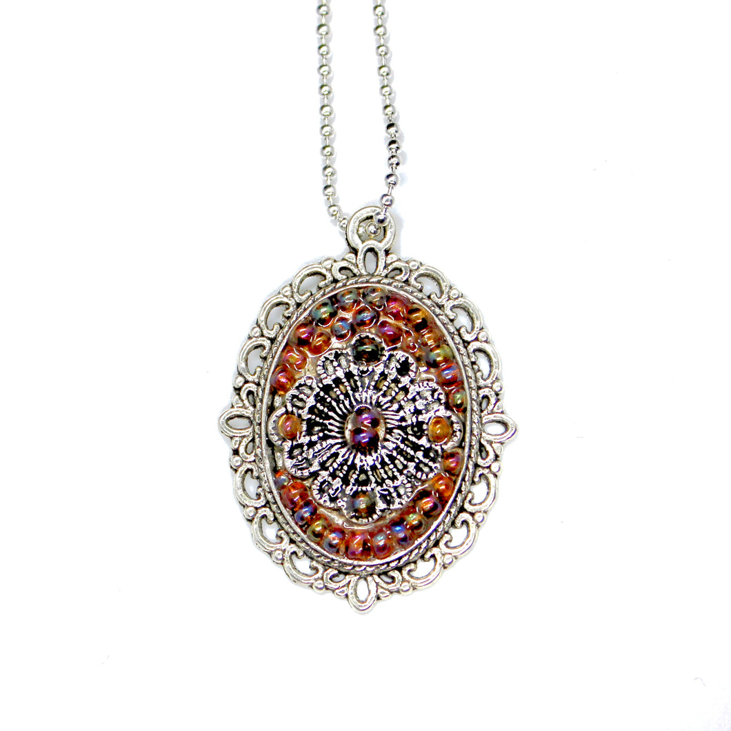 Ornate Rainbow Beaded Pendant