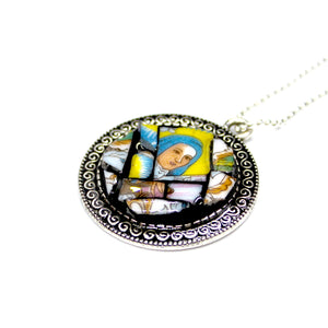 Yellow & Blue Mary Pendant