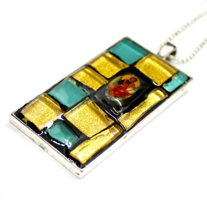 Tiffany Glass & Gold Pendant
