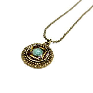 Blue Rose & Gold Beaded Pendant