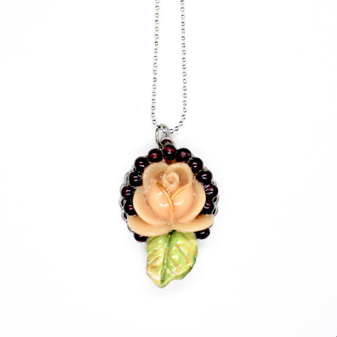 Peach Ceramic Rose Pendant