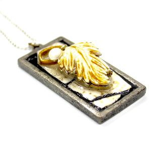 Gold Leaf Rectangle Pendant