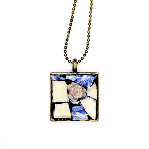 Blue and White China Rose Pendant
