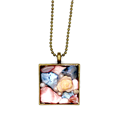 Pink and Blue Shell with Rose Pendant