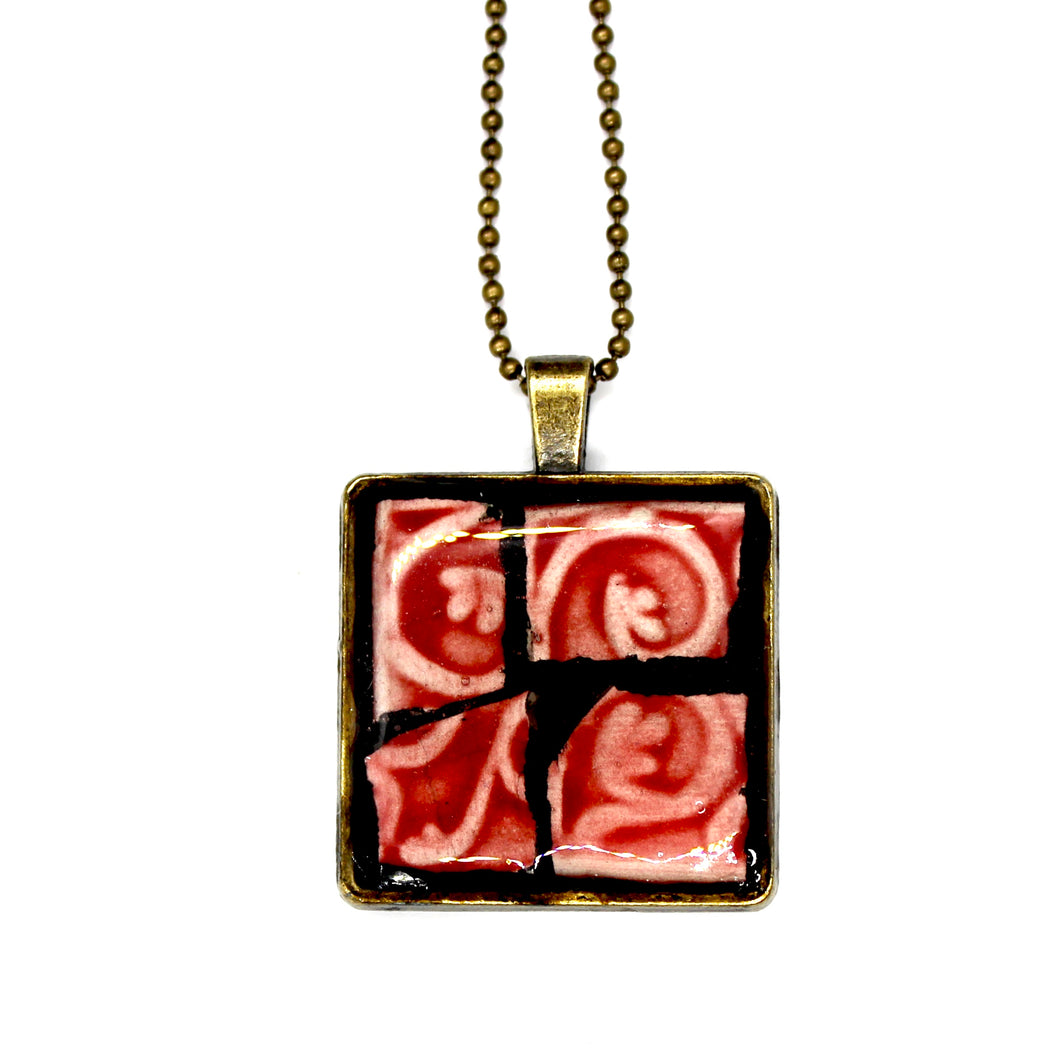 Deep Pink Ceramic Square Pendant
