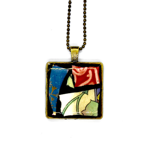 Pink, Blue & Leaf Square Pendant
