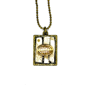 Mini Gold & White China Pendant