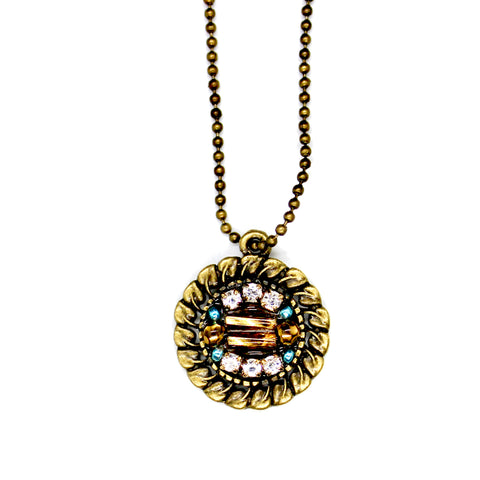 Gold and Rhinestone Beaded Pendant