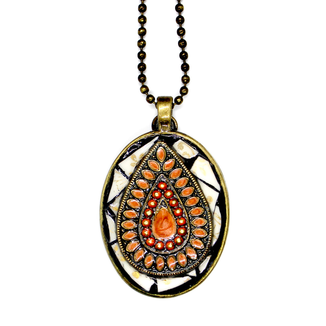 Melon Teardrop Medallion Pendant