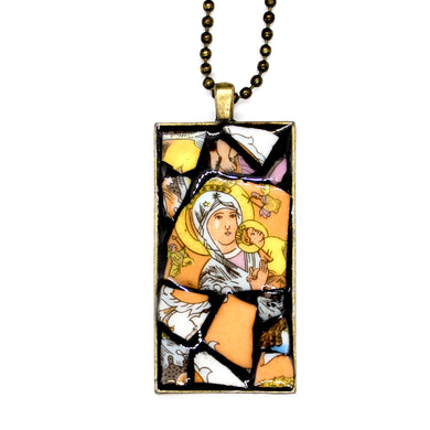 Golden Halo Mary Pendant