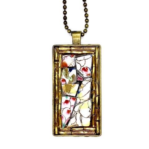 Fruit China with Gold Beads Pendant