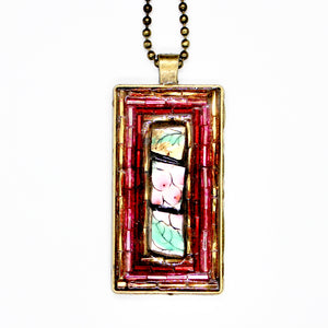 Fruit China with Red & Pink Beads Pendant
