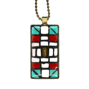 Geometric Turquoise Rectangle Pendant