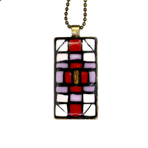 Geometric Lavender& Red Pendant