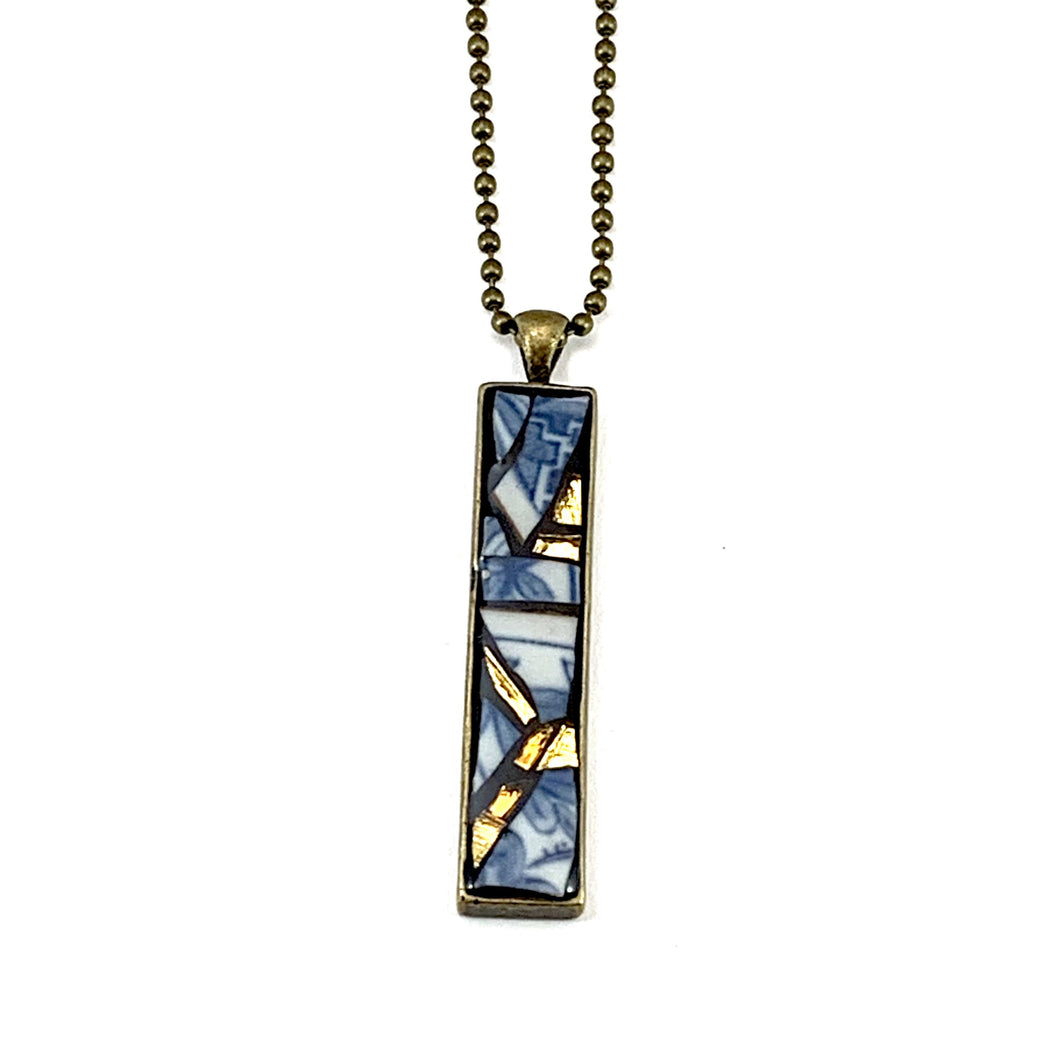 Kintsugi-Style Blue and White Ceramic Pendant