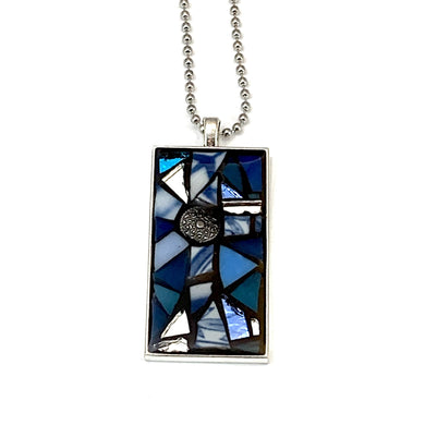 Blue and White Cross Pendant
