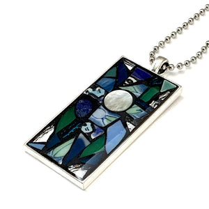 Ocean Blue and Silver Cross Pendant