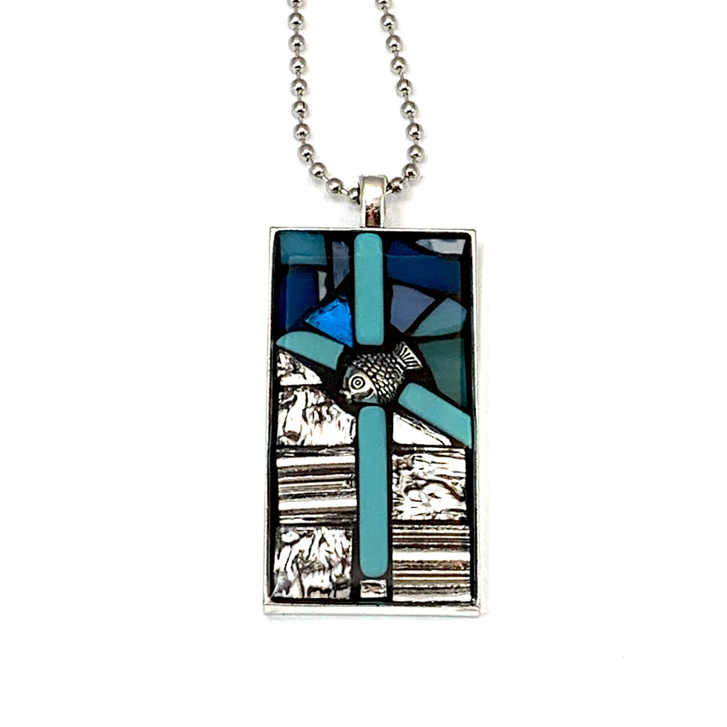Silver and Turquoise Cross Pendant