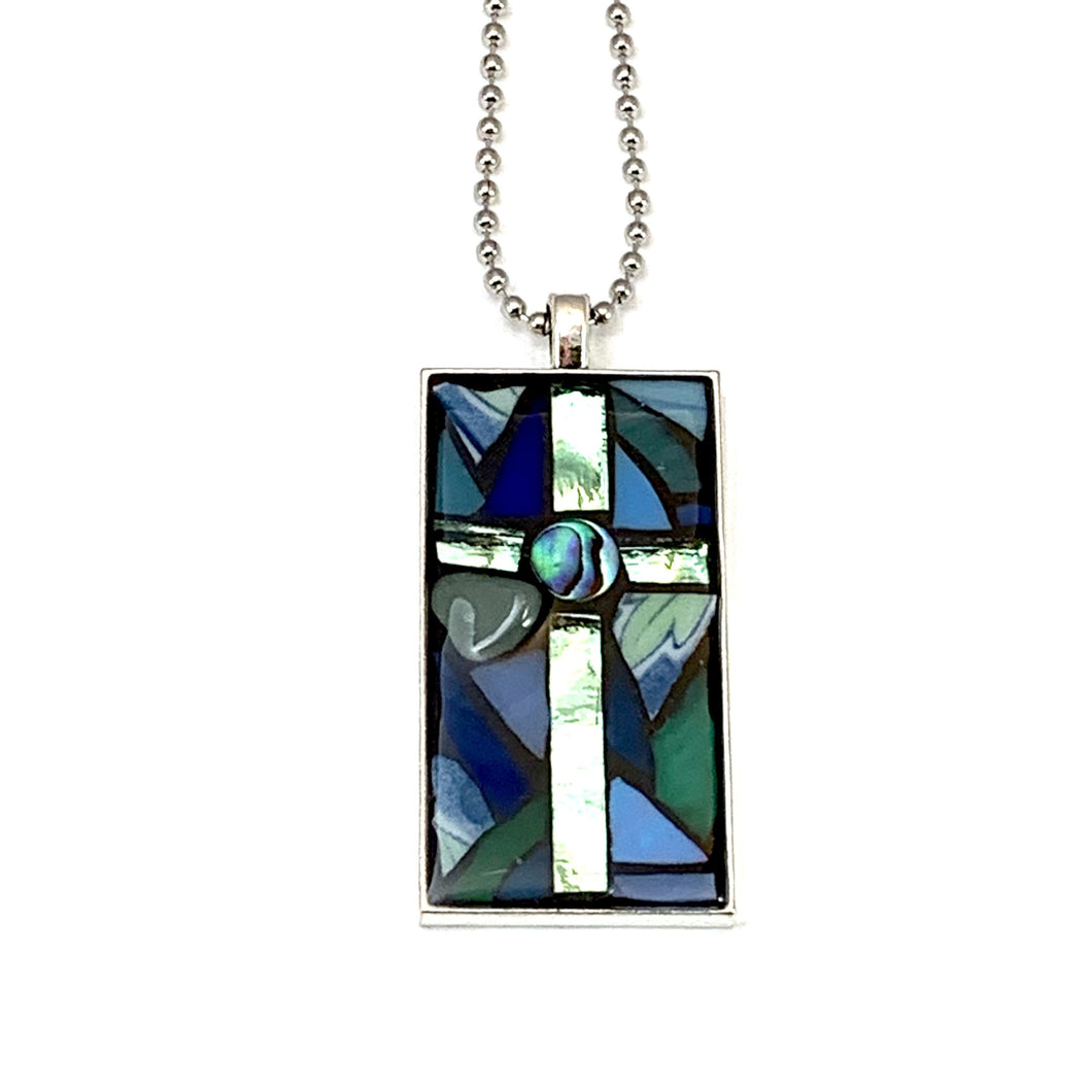 Silver and Blue-Green Cross Pendant