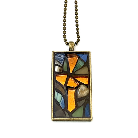Gold Cross Earth Tone Pendant