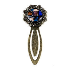Red and Blue Flower Antique Gold Bookmark