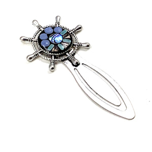 Ship Wheel Silver Bookmark